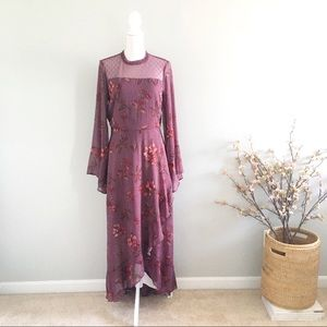 Jolt Fall Floral Long Sleeved Maxi Dress in Plum